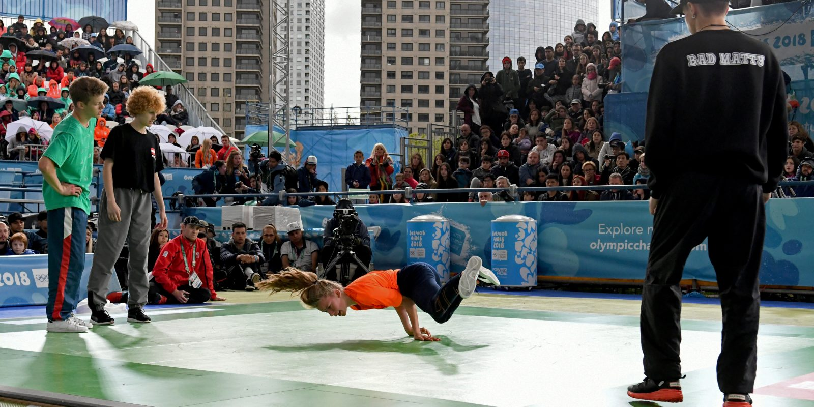 11 October 2018, Argentina, Buenos Aires: Breakdance semi-final at the Youth Olympic Games. Breakdance, the artistic dance style from the hip-hop scene, has arrived to the Olympics. Photo: Fabian Ramella/dpa (Photo by Fabian Ramella/picture alliance via Getty Images)